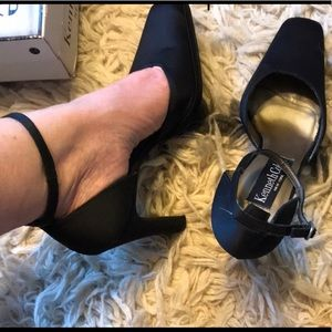 Kenneth Cole ankle strap charcoal heels